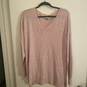 A New Day | Long Sleeve V-Neck Sweater - Blush